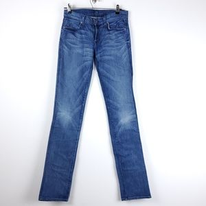7 for all mankind straight leg leather pocket jean